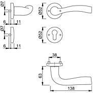 Melbourne 1672/19KV/19KVS Türgriffgarnitur PZ F1-2