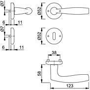 Vitória M1515/23KV/23KVS Türgriffgarnitur BB