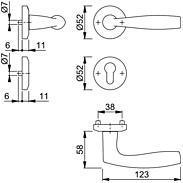 Vitória M1515/23KV/23KVS Türgriffgarnitur PZ