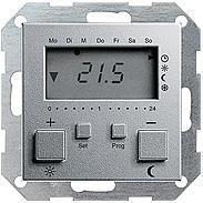 Gira RT-Regler 230 V mit Uhr alu System 55