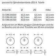 FSB Schutzrosette 73 7395 ZA Edelstahl Höhe 10,5mm
