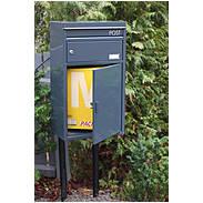 Safepost 45 Briefkasten mit Paketfach silbergrau
