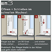 4er Set EM3 Riegel quarzgrau Fensterriegel