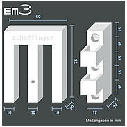 EM3 Riegel quarzgrau Fensterriegel - 8er Set