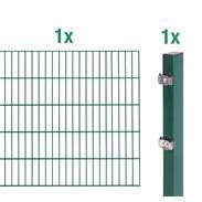 2m Doppelstabmatte-6-5-6 + Pfosten grün 2000x1400