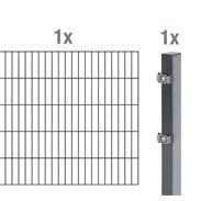 2m Doppelstabmatte 6-5-6 + Pfosten anth 2000x1200