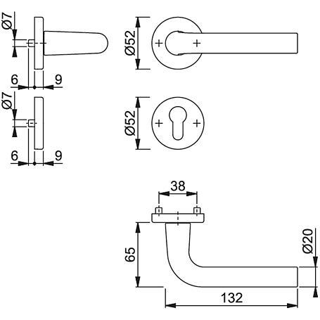 Bonn 150/42KV/42KVS Türgriffgarnitur PZ F1