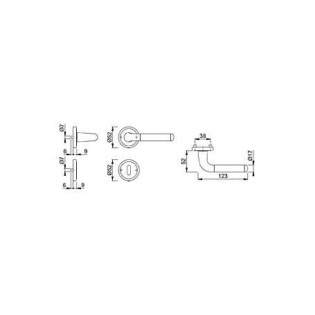 Cortina M195/15KV/15KVS Türgriffgarnitur BB