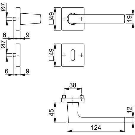 Dallas M1643/843KV/843KVS Messing Türgriffgarn. BB
