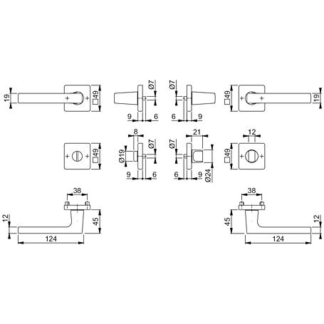 Dallas M1643/843KV/843KVS Messing Badgarnitur WC