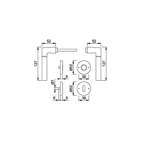 Lucca M1955/17KV/17KVS Messing Türgriffgarnitur BB