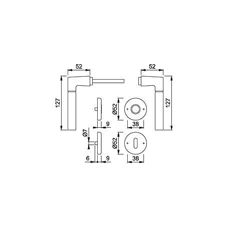 Lucca M1955/17KV/17KVS Messing Türgriffgarnitur PZ