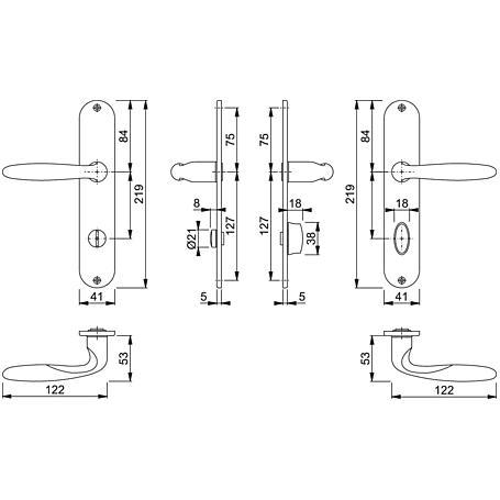 Verona M151/302 Badgarnitur Langschild WC F49