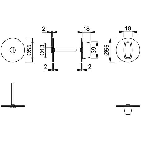 HOPPE Edelstahl Flachrosette E849S rund WC