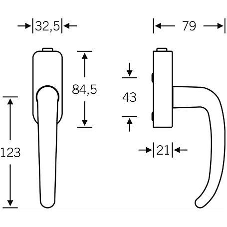 FSB Fenstergriff 34 1023 Edelstahl Stiftlänge 34mm