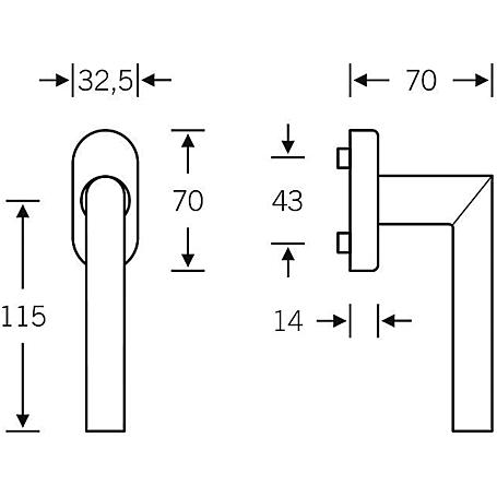 FSB Fenstergriff 34 1076 Edelstahl Stiftlänge 24mm