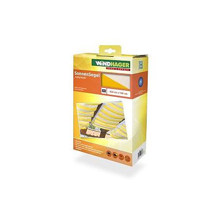 Sonnensegel-Seilspanntechnik gelb/weiß 4,2 x 1,4 m