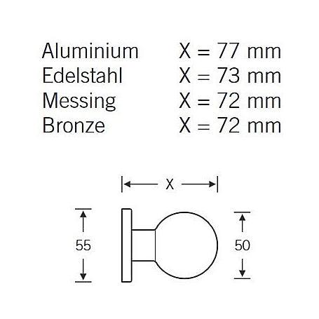 FSB Türknopf einseitige B. 23 0802 Aluminium F1