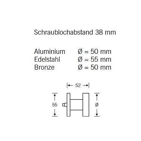 FSB Türknopf gegens. Befest. 23 0829 Aluminium F1