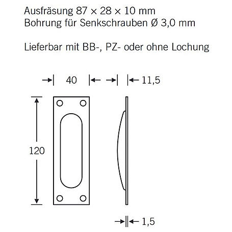 FSB Einlaßmuschel 42 4211 Aluminium F3