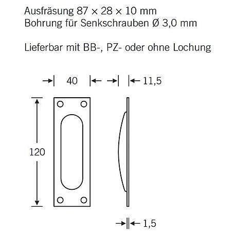 FSB Einlaßmuschel 42 4211 PZ Edelstahl fein matt