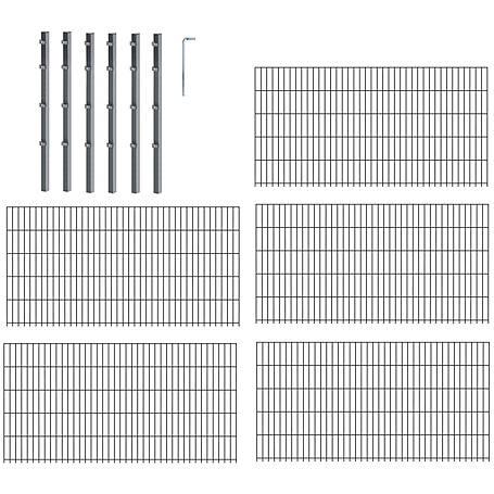 10m Doppelstabmatte-Set 6-5-6, anth, 2000x1600