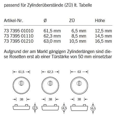FSB Schutzrosette 73 7395 ZA Edelstahl Höhe 8,5mm