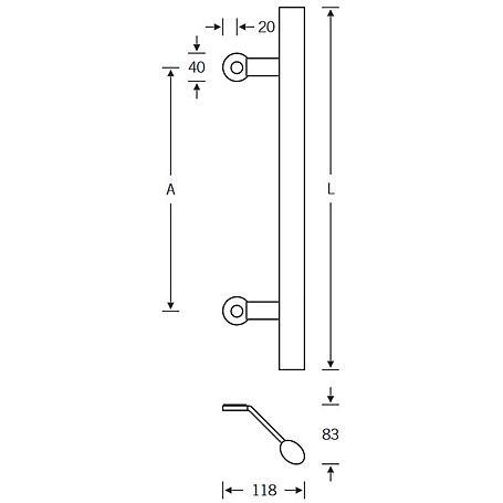 FSB Türgriff 66 6616 Edelstahl fein matt - 650 mm