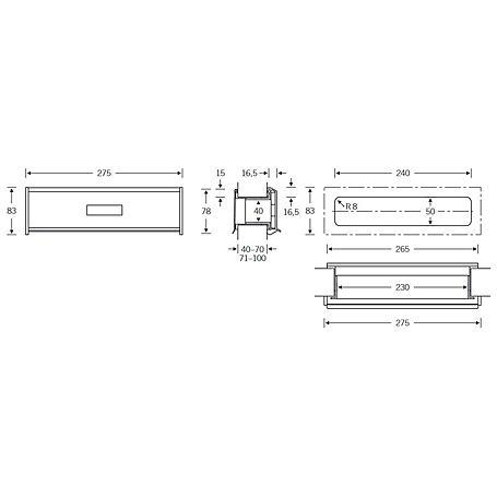 FSB Briefeinwurf 38 3826 Aluminium F2