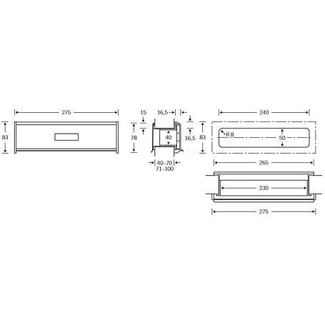 FSB Briefeinwurfset 38 3826 Edelstahl 71-100 mm