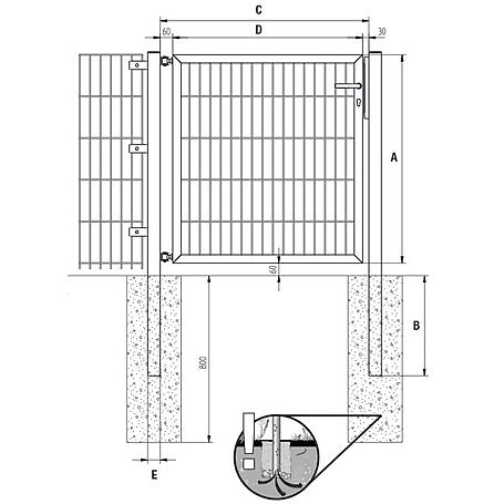 GAH Stabgitter Einzeltor FLEXO anthr 1500 x 800 mm
