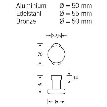 FSB Rahmentür Feuerschutz Türknopf 07 0829 Bronze