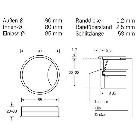 FSB Kabeldose 36 9865 Aluminium F1 - 23mm