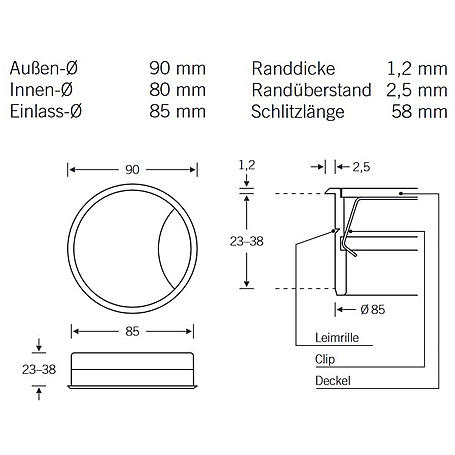 FSB Kabeldose 36 9865 Aluminium F1 - 29mm