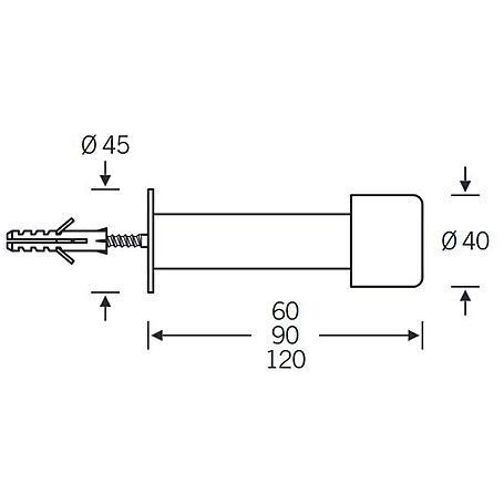 FSB Türstopper 38 3880 Edelstahl fein matt - 120mm