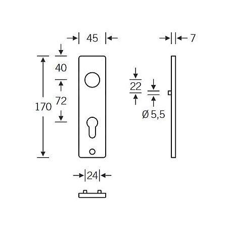 FSB Badgarnitur 14 1402 WC-R Aluminium F1