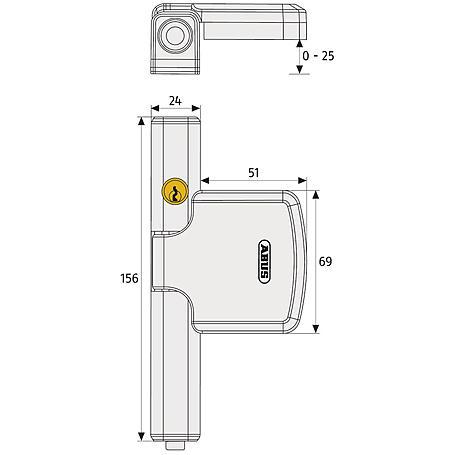 ABUS FTS 206 B AL0089  Fensterschloss stabil,braun
