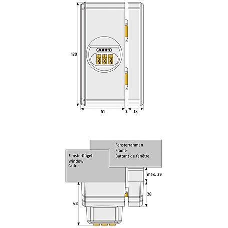 ABUS FTS106 B EK Zahlenschloss Fenstersicher braun