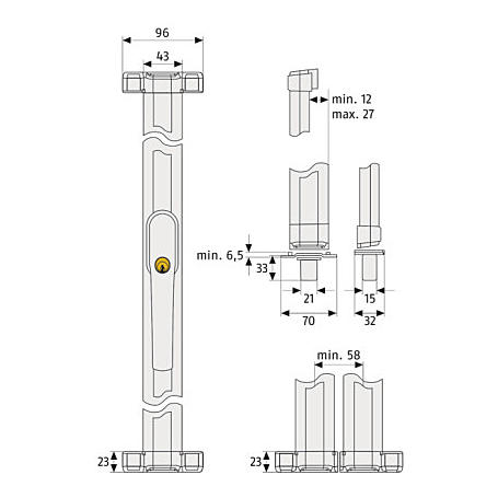 ABUS FOS550W + Stangenset 4W 150/150cm Komplettset