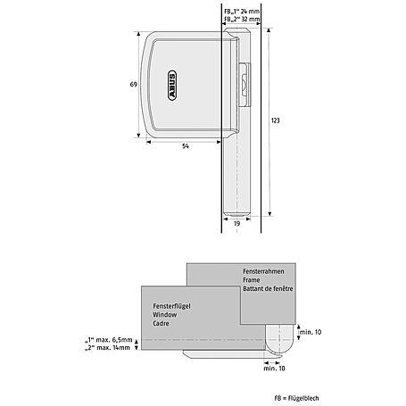 ABUS FAS101 B EK Scharnierseiten-Fensterschloss