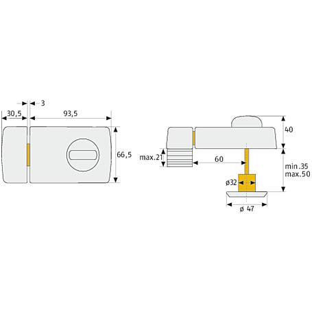 ABUS 2110 S Türzusatzschloss mit Drehknauf, silber