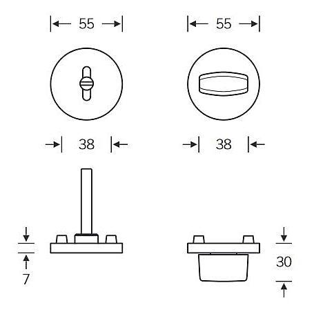 FSB 1735 Bad-Rosettengarnitur WC Edelstahl