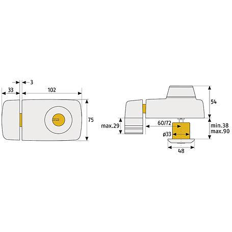 Abus 7025 B EK Türzusatzschloss m.Innenzylinder, b