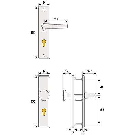 Abus KLN314 F1 b.Dr.B/SB Schutzbeschlag, aluminium