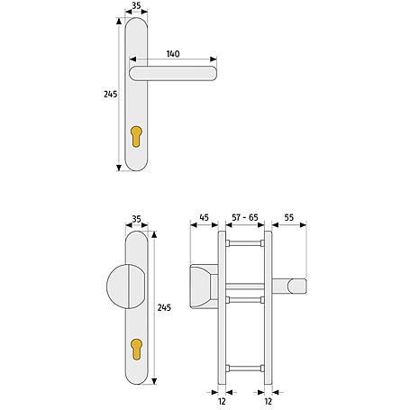 Abus SRG92 F1 b.Dr. EK Schutzbeschlag, aluminium