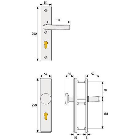 Abus HLN414 F1 b.Dr.B/SB Schutzbeschlag, aluminium