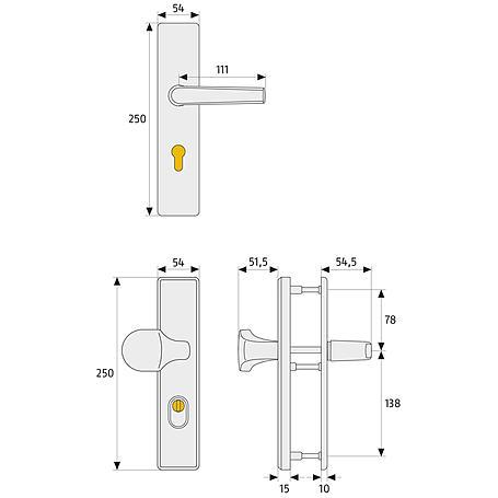 ABUS HLZS814 F4 b.Dr. EK eckig Schutzbeschlag,bron