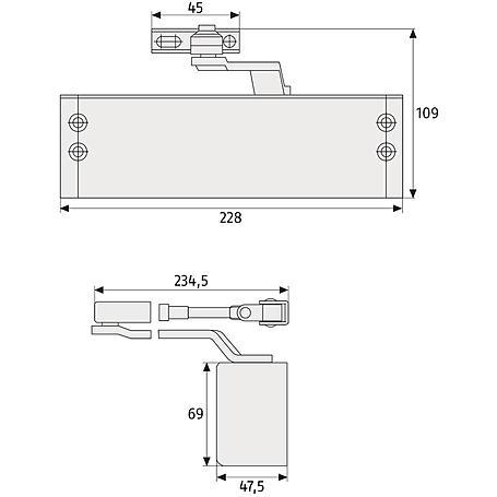 ABUS 7603 S Türschließer, silber