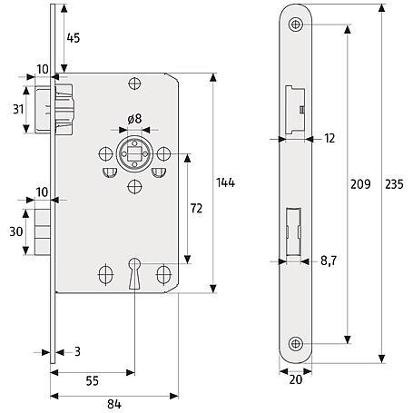Abus TK10 L HG/18mm Einsteckschloss BB