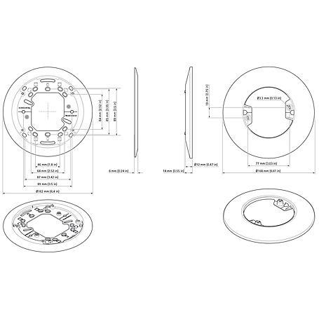 Axis T94B02M Montageplatte M304X-V, Dome V B-Ware